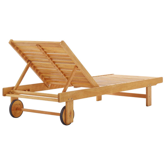 Hatteras Outdoor Patio Eucalyptus Wood Chaise Lounge Chair