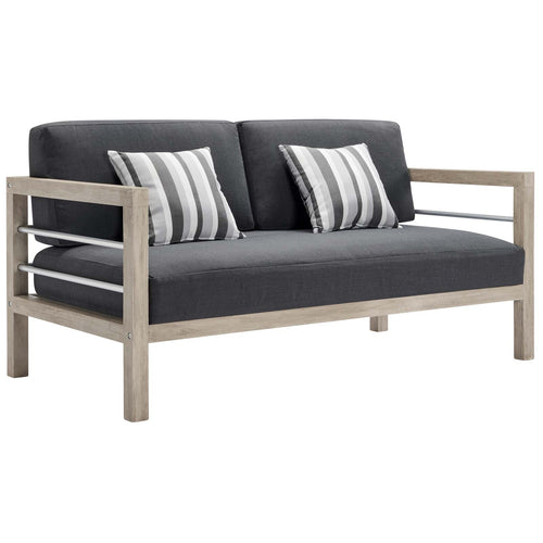 Wiscasset Outdoor Patio Acacia Wood Loveseat