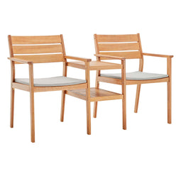 Viewscape Outdoor Patio Ash Wood Jack and Jill Chair Set