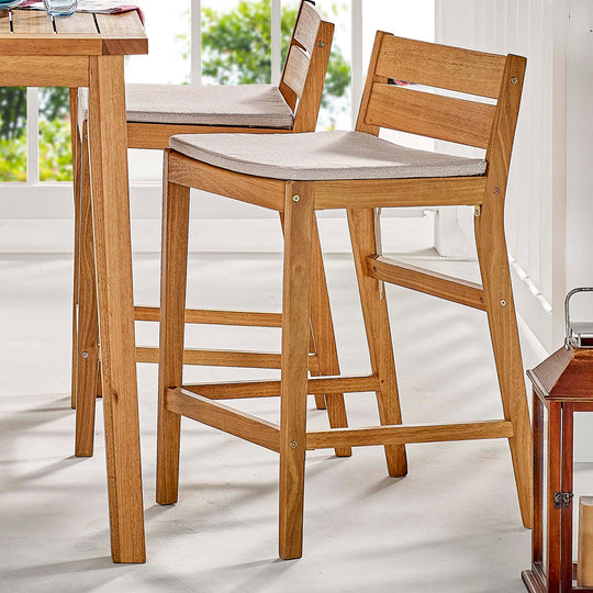 Riverlake Outdoor Patio Ash Wood Bar Stool