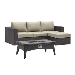Convene 3 Piece 4 Seater Outdoor Patio W/ Fire Pit
