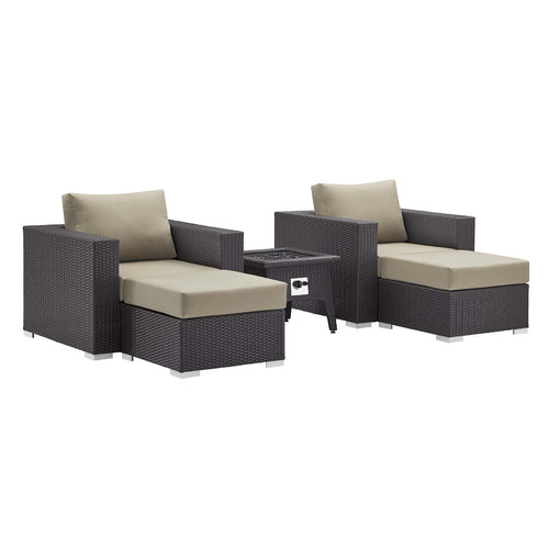 Convene 5 Piece Set Outdoor Patio W/ Fire Pit & Ottoman - Espresso Beige