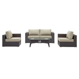 Convene 5 Piece 4 Seater Set Outdoor Patio W/ Fire Pit
