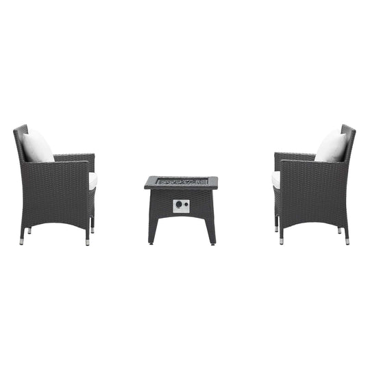Convene 3 Piece Armchair Outdoor Patio W/ Fire Pit