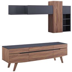 Modern Scope Corner Universal 2 Piece Entertainment Center - Wall Tv Stand