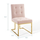 Load image into Gallery viewer, Privy Gold Stainless Steel Performance Velvet Dining Chair