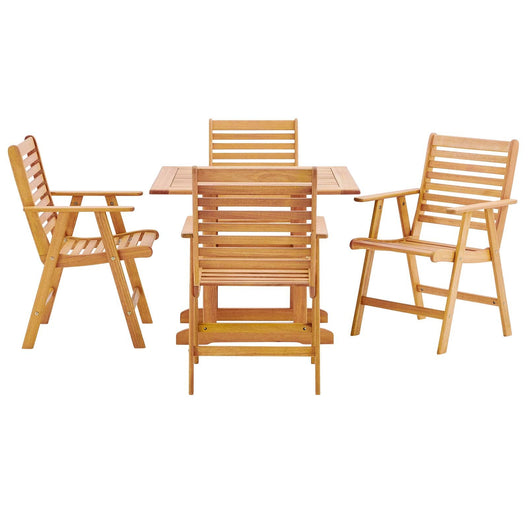 Hatteras 5 Piece Outdoor Patio Eucalyptus Wood Dining Set