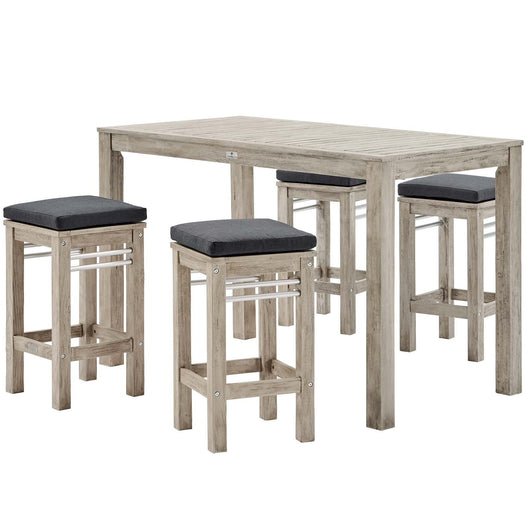 Wiscasset 5 Piece Outdoor Patio Acacia Wood Bar Set
