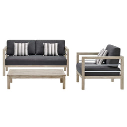 Wiscasset Outdoor Patio Acacia Wood Set In Gray