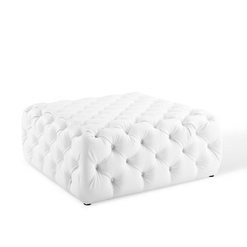 Anthem Tufted Button Large Square Faux Leather Ottoman - White