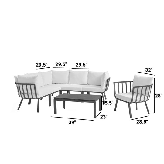 Riverside Outdoor Patio Aluminum Conversation Set