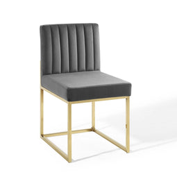 Carriage Channel Tufted Sled Base Performance Dining Chair