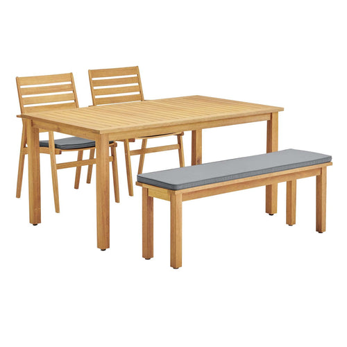 Syracuse Outdoor Patio Eucalyptus Wood Dining Set With Chair And benches  - 4 Piece