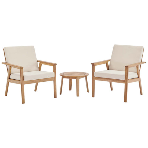 Vero 3 Piece Outdoor Patio Ash Wood Set