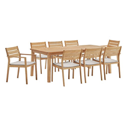 Modern Cottage Look And A Sleek Style With The Views Cape 9 Piece Outdoor Patio Dining Set - Natural Taupe Color