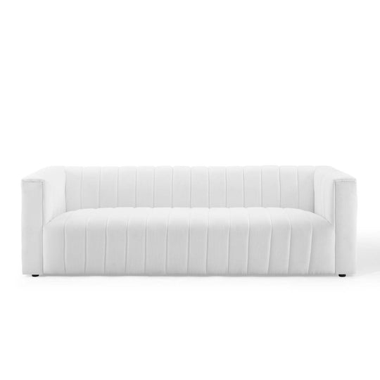 Reflection Channel Tufted Upholstered Fabric Sofa