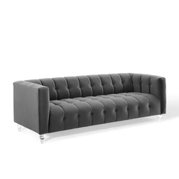 Mesmer Channel Tufted Button Performance Velvet Sofa