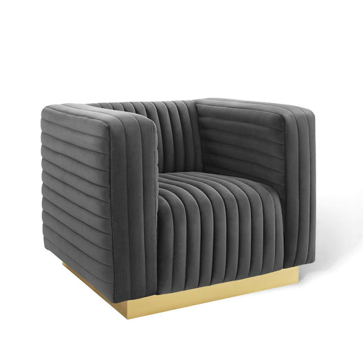 Charisma Channel Tufted Performance Velvet Accent Armchair