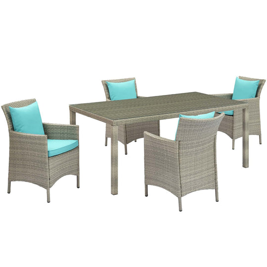 Conduit 5 Piece Outdoor Patio Wicker Rattan Dining Set