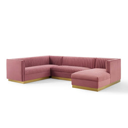 Glamour 3 Piece Performance Velvet Sectional Sofa Set