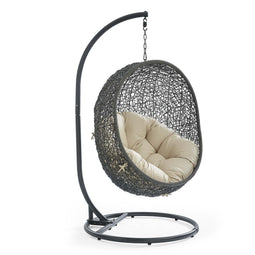 Terrace Egg Shape Hammock Chair With Hanging Kits & Stand - In Multicolor Cushions