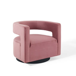 Spin Cutaway Performance Velvet Swivel Armchair