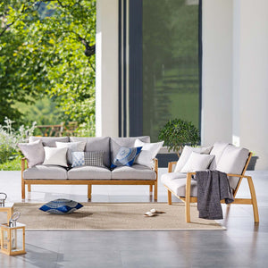 Orlean Outdoor Patio Eucalyptus Wood Sofa and Loveseat Set