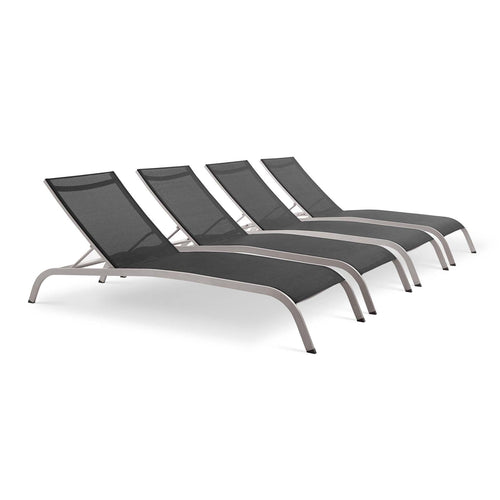 Savannah Outdoor Patio Mesh Chaise Lounge Set of 4