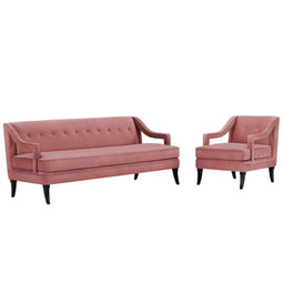 Concur Living Room Set In Velvet
