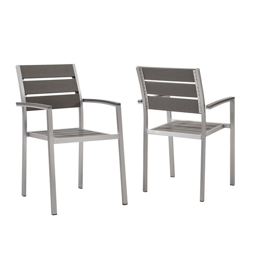Shore Outdoor Patio Aluminum Dining Armchair Set of 2