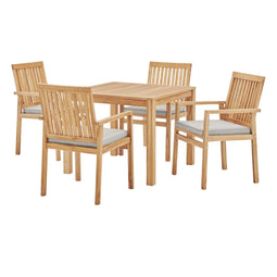 Farmstay 5 Piece Outdoor Patio Teak Wood Dining Set, Natural, Taupe, 5 Piece