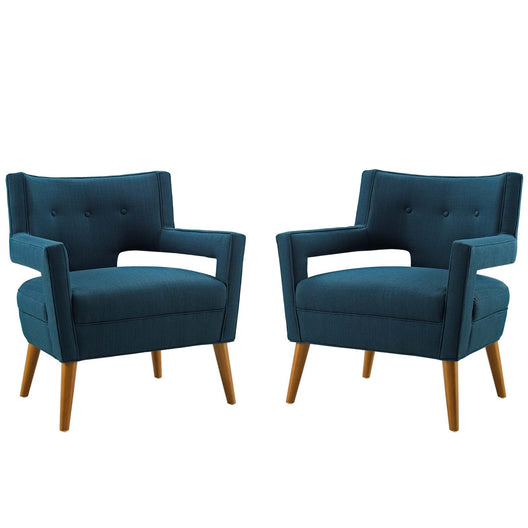 Sheer Upholstered Fabric Armchair Set of 2