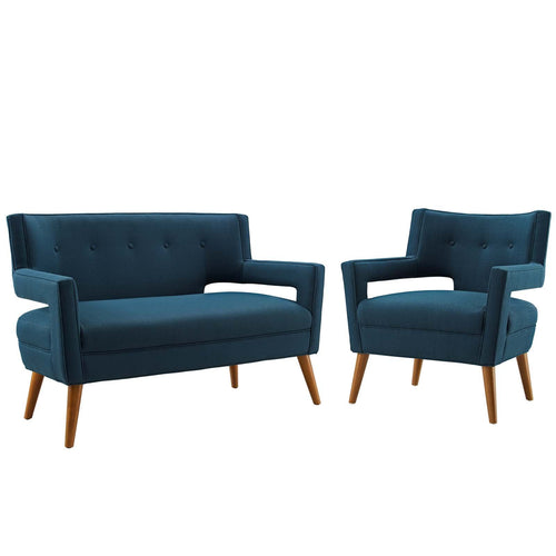 Sheer Upholstered Fabric Loveseat and Armchair Set