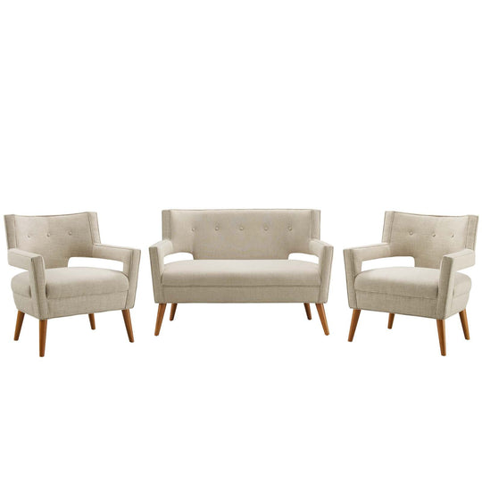 Sheer 3 Piece Upholstered Fabric Set