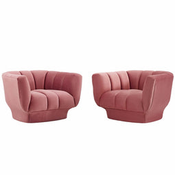 Entertain Vertical Channel Tufted Performance Velvet Armchair Set of 2