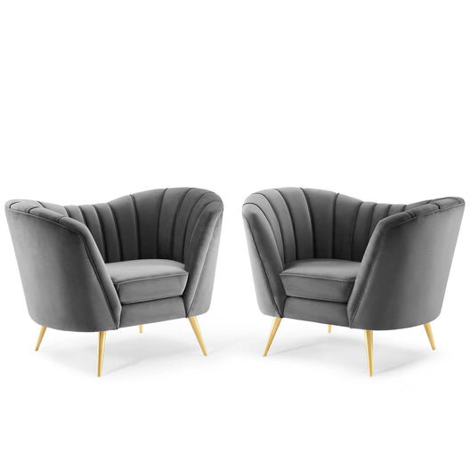 Opportunity Performance Velvet Armchair Set of 2