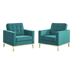 Loft Gold Stainless Steel Leg Performance Velvet Armchair Set of 2