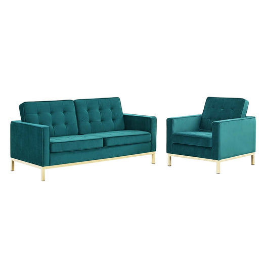 Loft Gold Stainless Steel Leg Performance Velvet Loveseat and Armchair Set