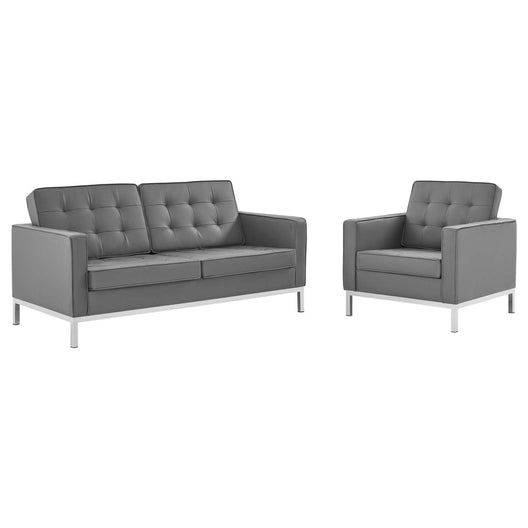 Loft Tufted Upholstered Faux Leather Loveseat and Armchair Set