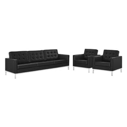 Loft Tufted Upholstered Faux Leather Set