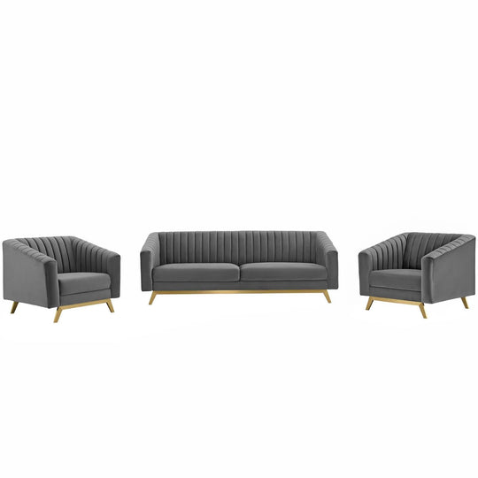 Valiant Vertical Channel Tufted Upholstered Performance Velvet 3 Piece Set