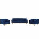 Load image into Gallery viewer, Valiant Vertical Channel Tufted Upholstered Performance Velvet 3 Piece Set