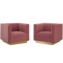 Sanguine Vertical Channel Tufted Upholstered Performance Velvet Armchair Set of 2