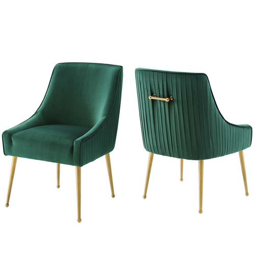 Discern Pleated Back Upholstered Performance Velvet Dining Chair Set of 2
