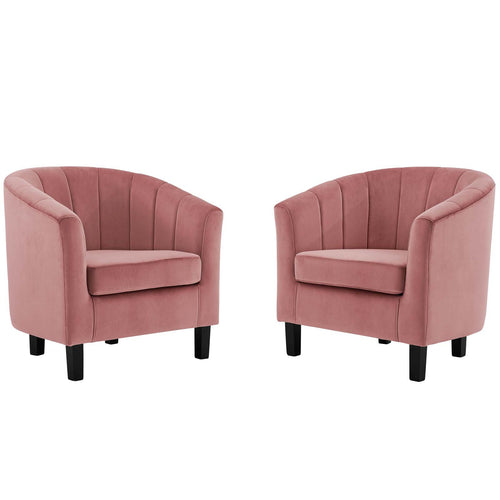 Prospect Channel Tufted Performance Velvet Armchair Set of 2