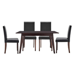 Elegant Faux Mable Desk Prosper Dining Room Set of 5 - Cappuccino Black