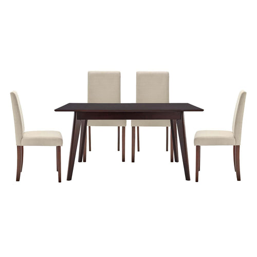 Prosper Dining Room Set Upholstered Fabric Set of 5 - Cappuccino Beige