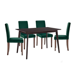 Prosper Dining Room  Furniture Set Upholstered Velvet Pack of 5 - Cappuccino Green Dinning Table Set