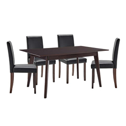 5 Piece Furniture Rectangular Kitchen Set With Faux Leather Chair With Rubberwood Frame - Cappuccino Black