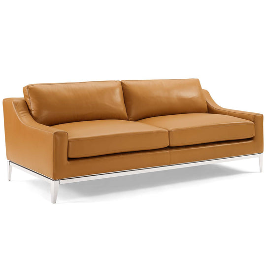 Harness Stainless Steel Base Leather Sofa and Loveseat Set